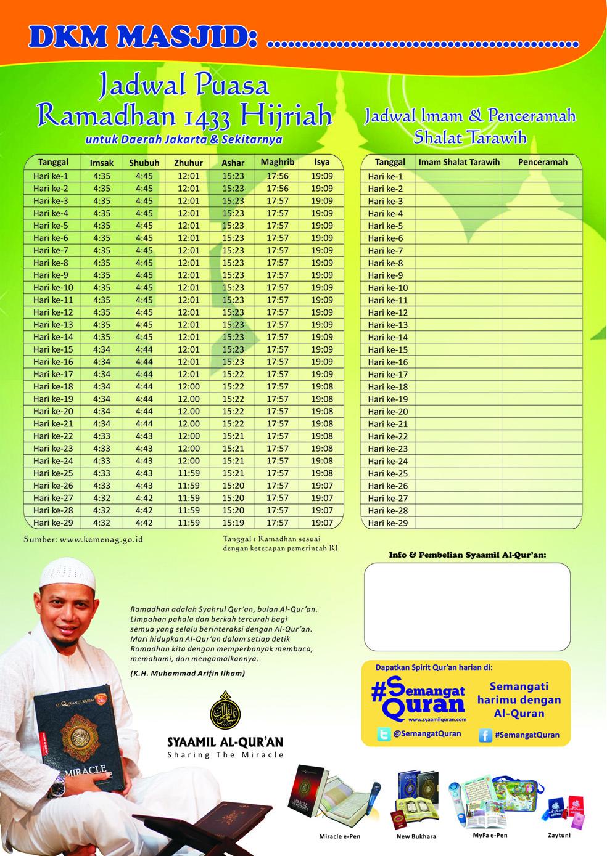 Silahkan download Jadwal Imsakiyah Ramadhan 1433 H